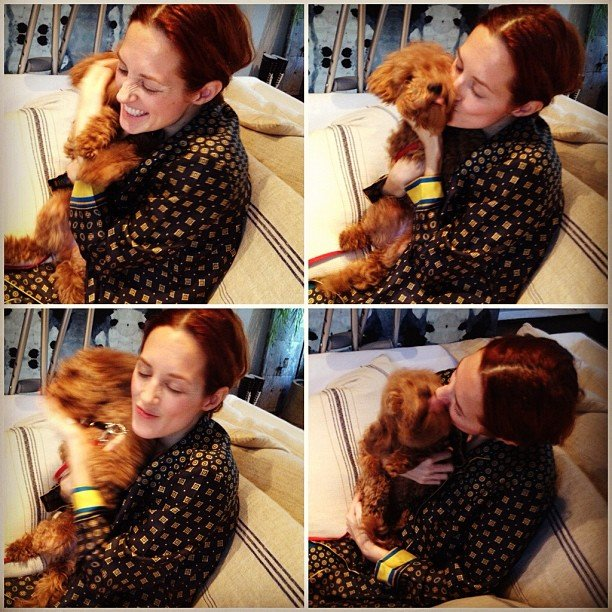 Taylor Tomasi Hill got up close and personal with a puppy from the Moda Operandi offices. Source: Instagram user ttomasihill