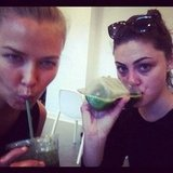 Lara Bingle and Phoebe Tonkin replenished themselves with a green juice after a tough workout. Source: Instagram user phoebejtonkin