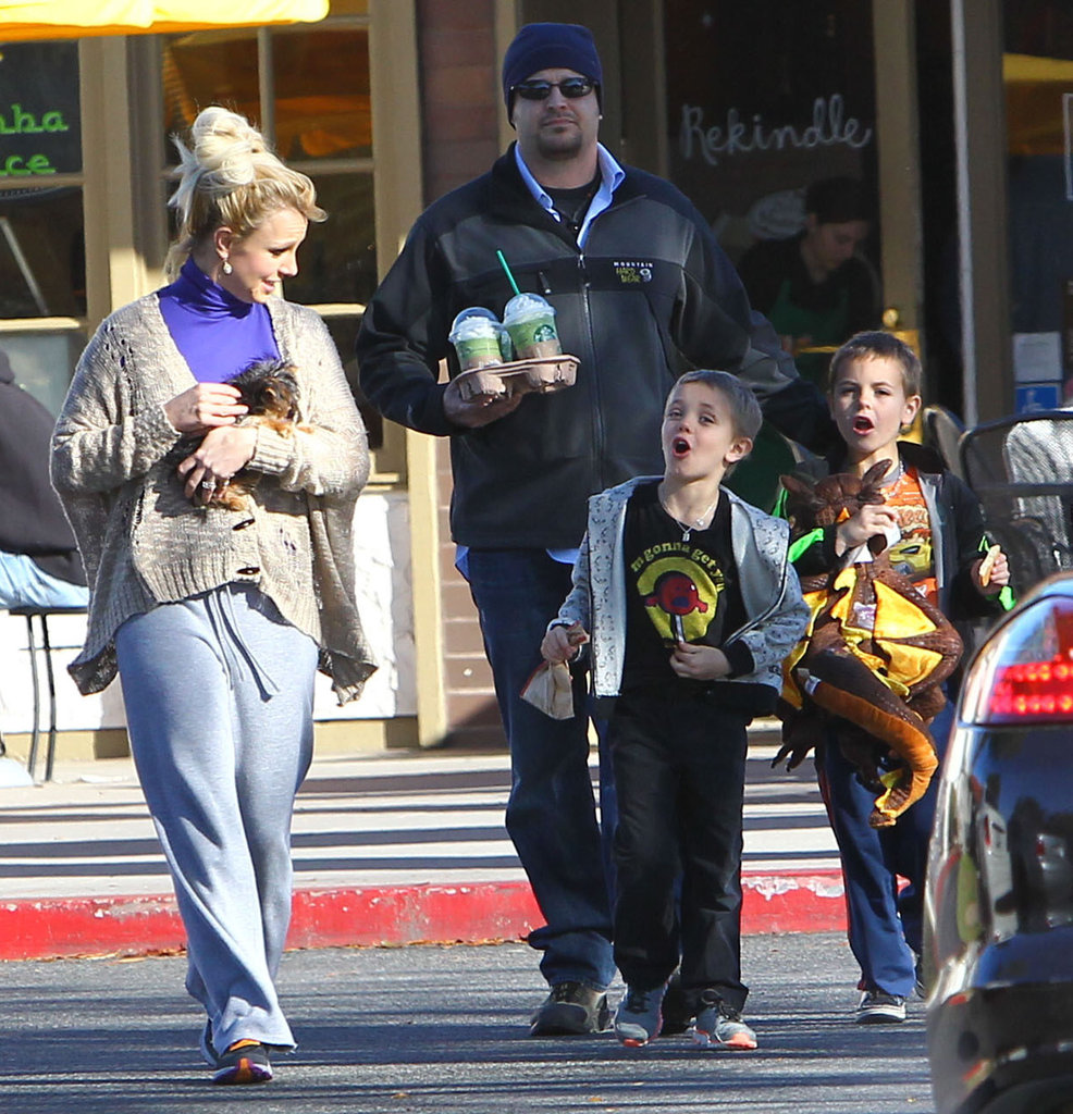 Britney Spears and her boys picked up Starbucks.