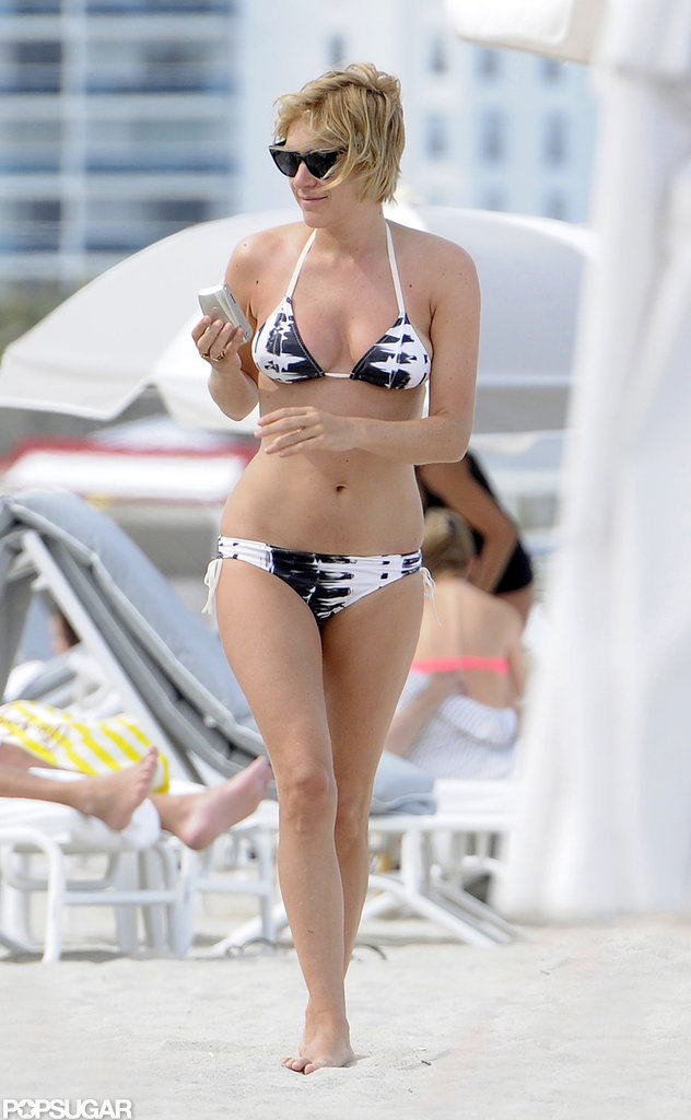 Chloë Sevigny heated up South Beach, Miami, in a black-and-white bikini in April.