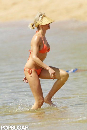 Cameron Diaz wore a bright orange bikini while spending Easter in Hawaii this April.