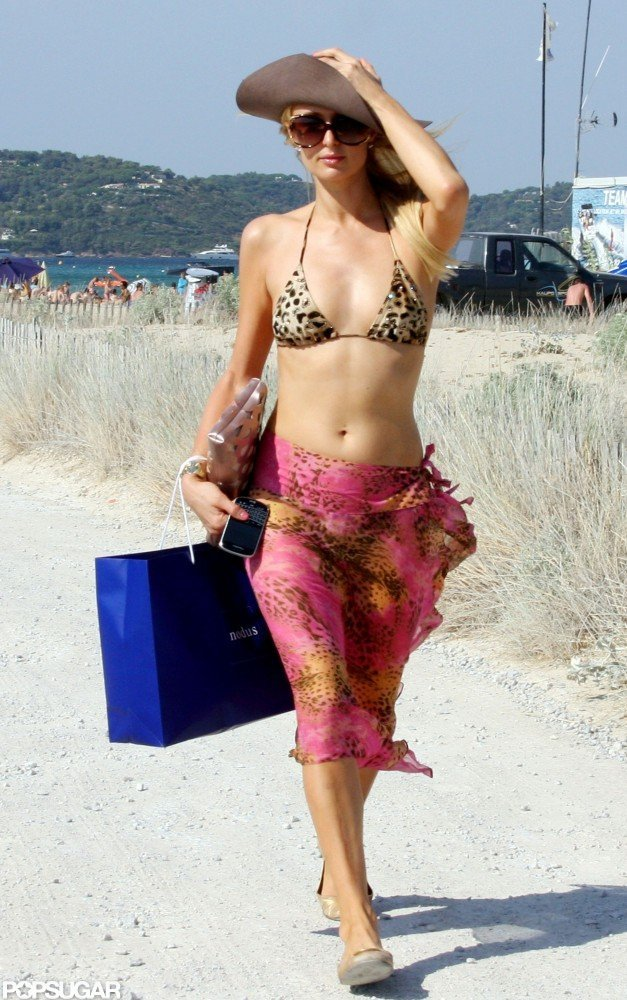 Paris Hilton headed to the beach in a leopard bikini while vacationing in Saint-Tropez this July 2012.