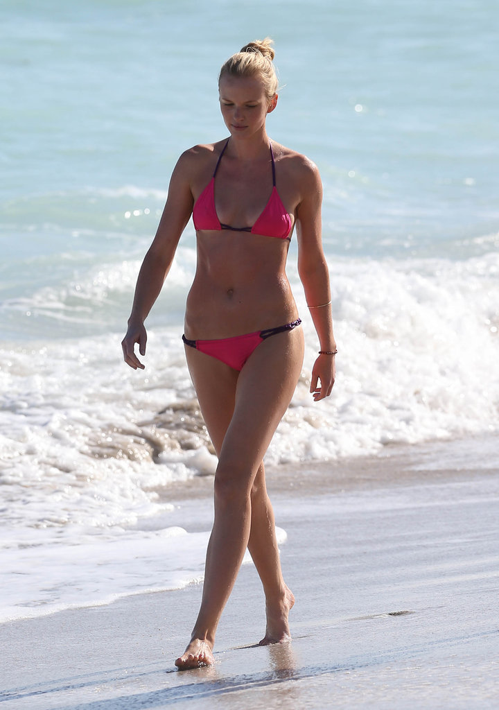 Model Anne Vyalitsyna wore a hot-pink bikini while hitting the beach in Miami in November.