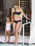 Jennifer Lopez wore a sexy black bikini while spending time in Miami with daughter Emme in September 2012.