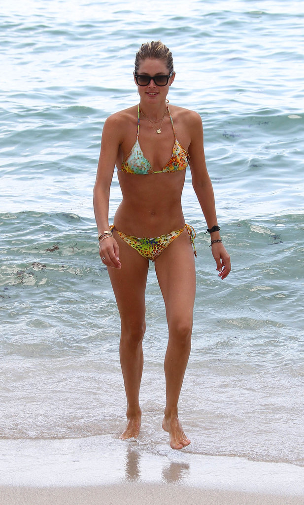 Doutzen Kroes soaked up the sun in a printed bikini while vacationing in Miami in August.