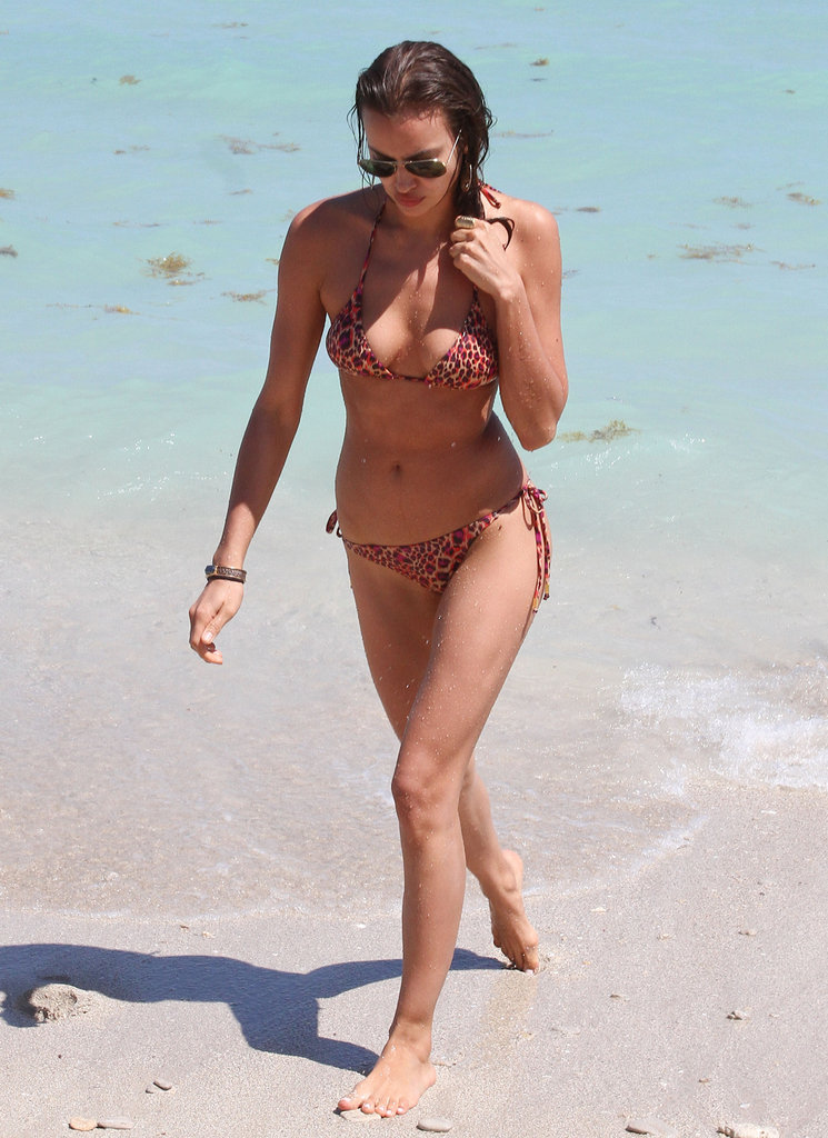 Irina Shayk played in the water during a trip to Miami in March.