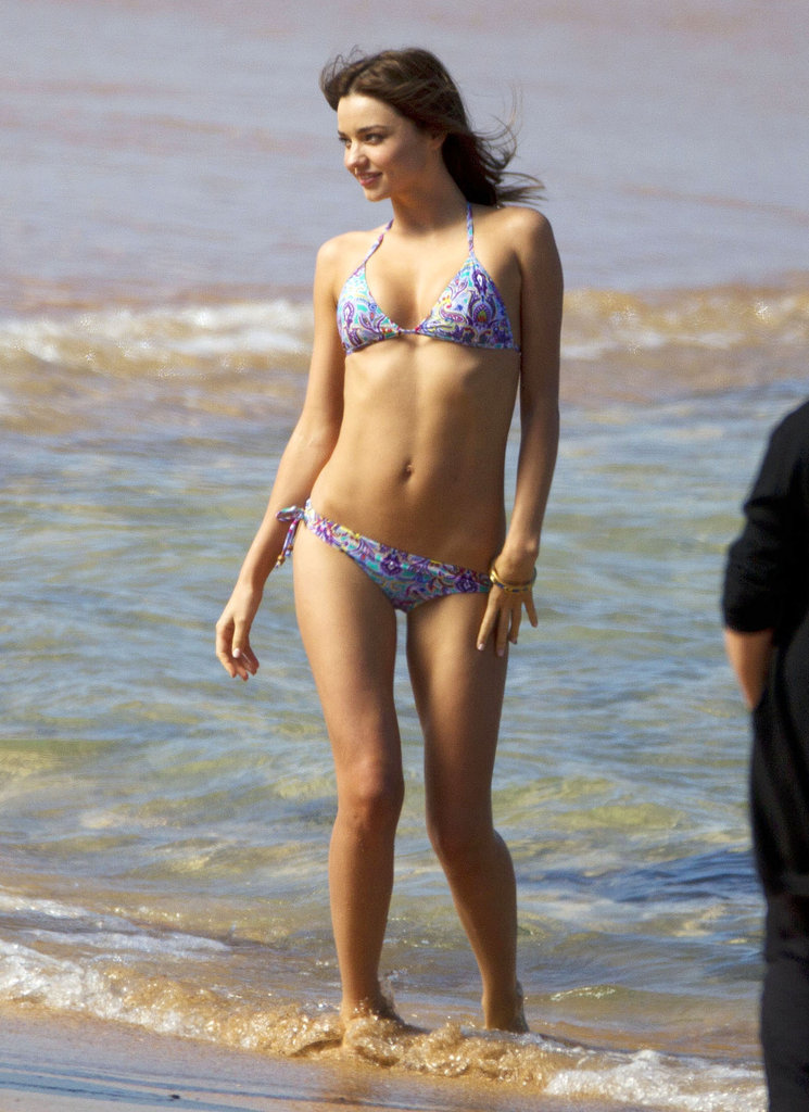 Miranda Kerr hit the beach in Sydney while on a photo shoot in August.