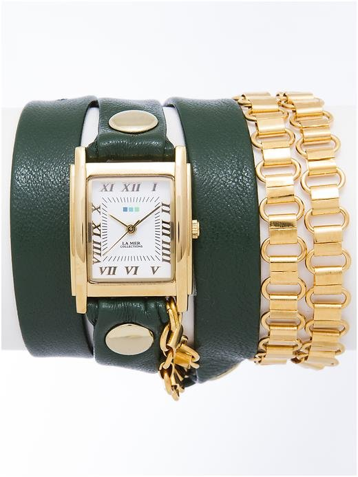 You can't go wrong with a classic accessory — like this wrap watch from La Mer Collections ($105) — for a low-key nod to 2013's color of the year.