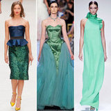 The Spring '13 runways were an early indication that dressing in shades of green was as chic as ever. From dramatic eveningwear to more playful pencil-skirt iterations, the green hue made its presence known. From left to right: Burberry Prorsum, Zac Posen, and Gucci