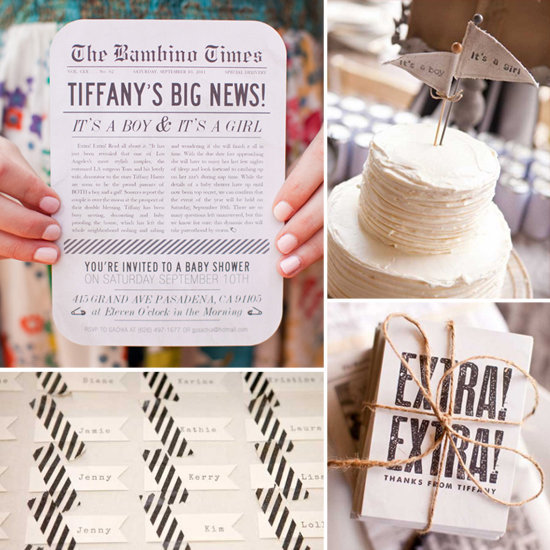 Baby Showers: A Divine Vintage Newsprint Shower