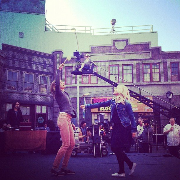 Onscreen sisters Eliza Coupe and Elisha Cuthbert filmed a fight scene for Happy Endings. Source: Instagram user elizamuthafuckincoupe