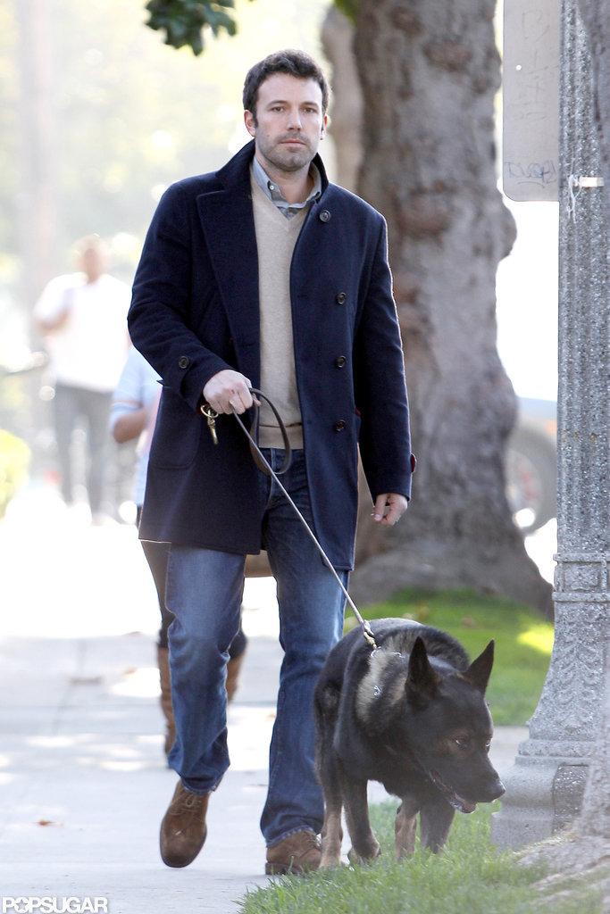Ben Affleck walked the dog.
