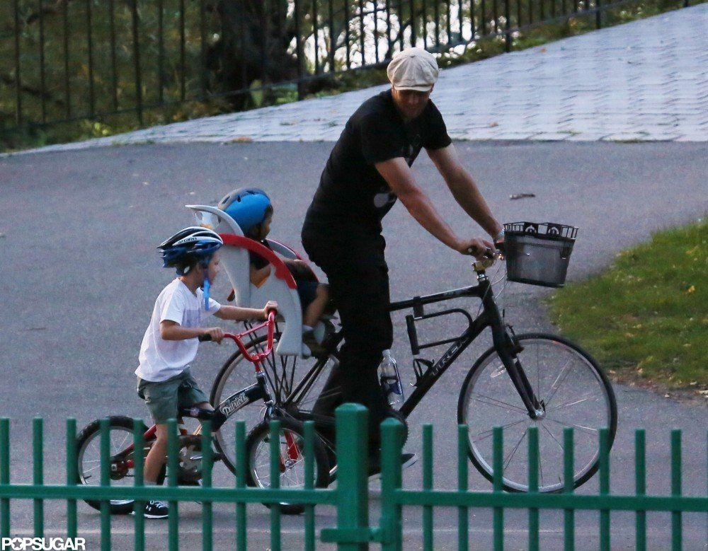 Tom Brady took Jack Moynahan and Benjamin Brady for a bike ride in Boston in September.