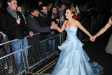 Geri Halliwell wore a baby blue gown in London.