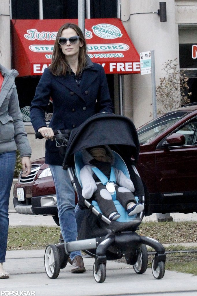 Jennifer Garner took Samuel on a morning coffee run in New Orleans.