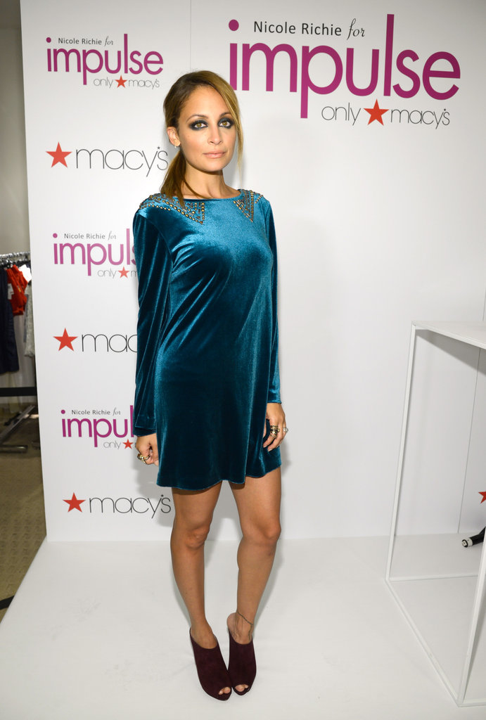 Nicole Richie sported one of her own velvet minidress designs during a Macy's event in September.