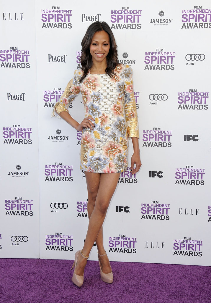 Zoe Saldana was all legs at the Independent Spirit Awards in February, wearing a colourful Balmain mini and nude heels.