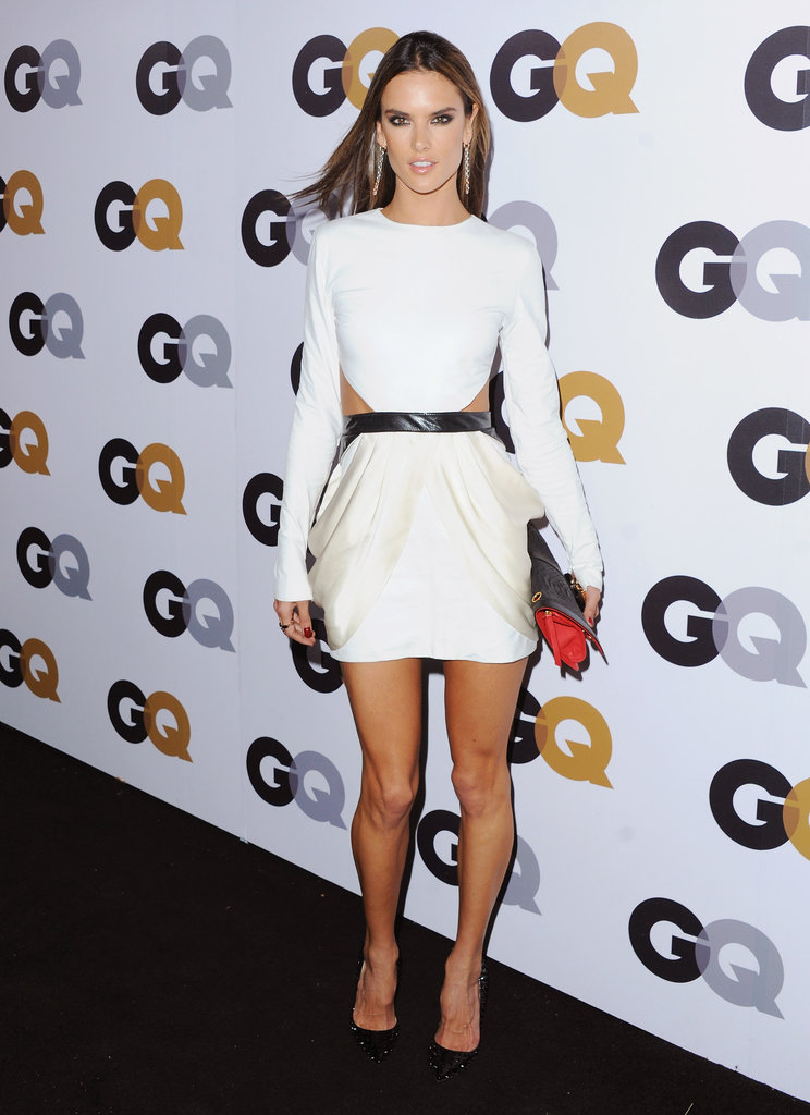 Alessandra Ambrosio wore a white and cream Sally LaPointe dress at the GQ Men of the Year party in November.