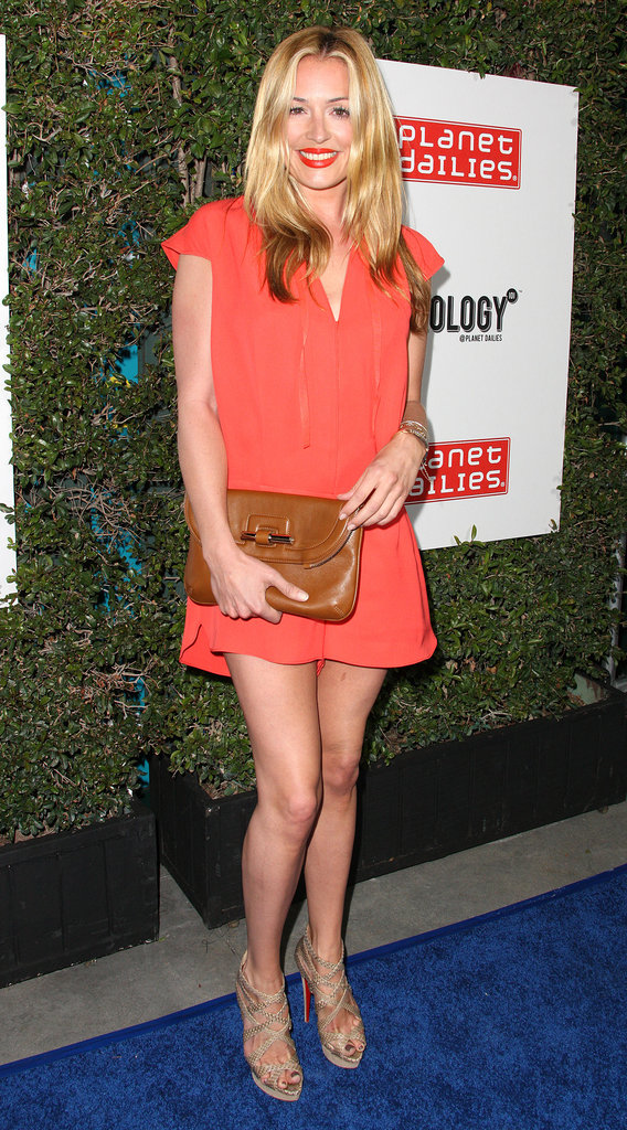 Cat Deeley was all stems in a coral-colored mini and nude heels at an LA party back in March.