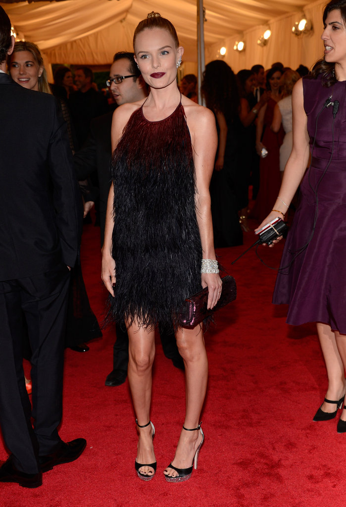 Kate Bosworth's mini moment came at the Met Gala in May, when she walked the red carpet in a feathered Prada mini.