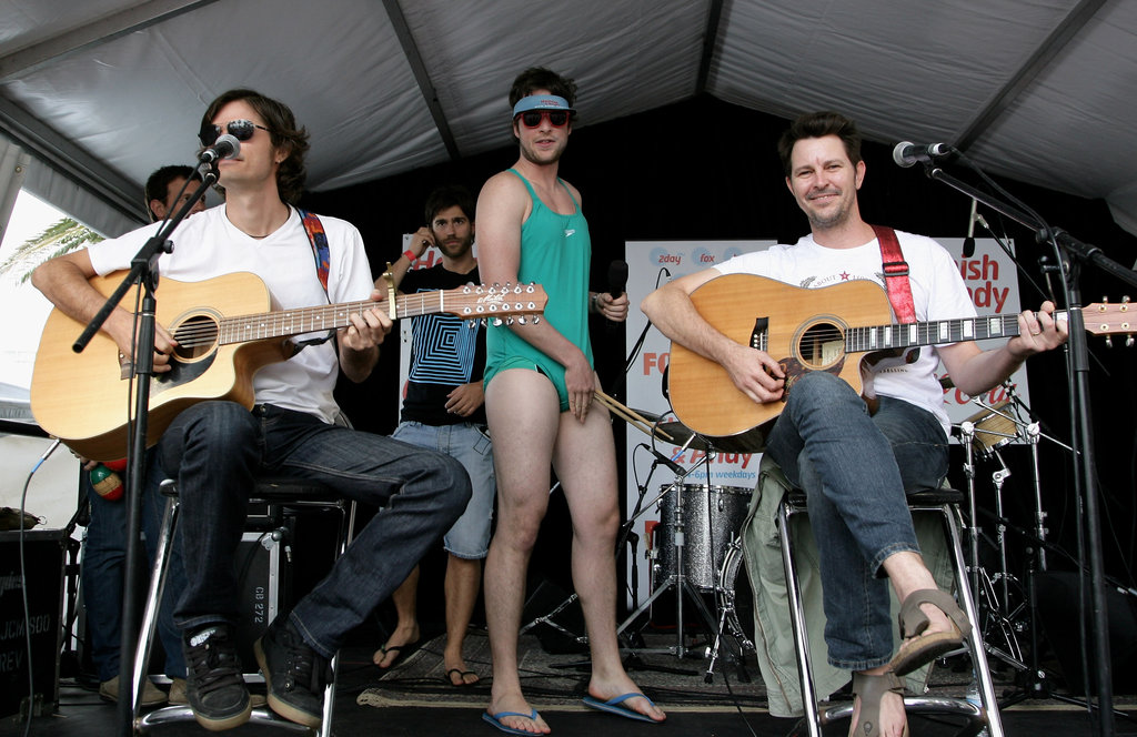 Hamish wore a bright green one-piece at a BYO pool party he hosted with Andy in Sydney in Dec. 2009.