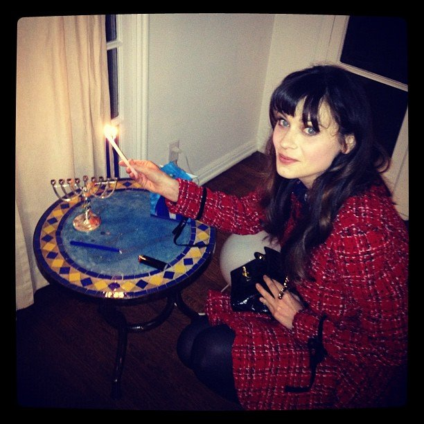 Zooey Deschanel celebrated Hanukkah. Source: Instagram user zooe