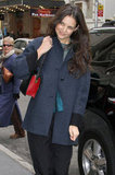 Katie Holmes wore a navy blue winter coat.
