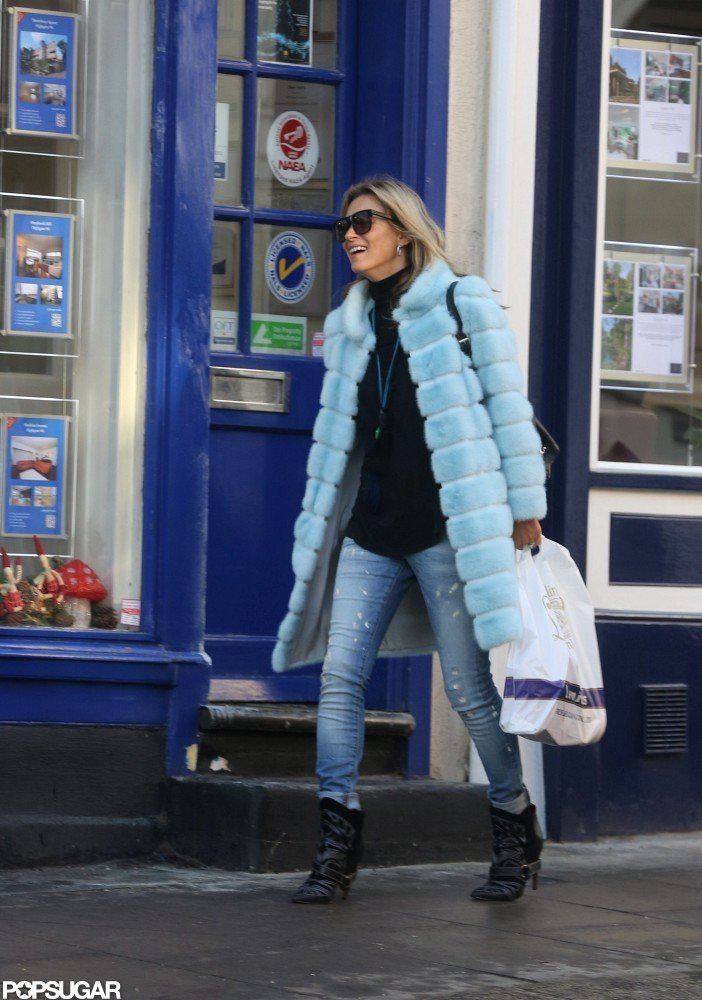 Kate Moss went shopping in a fur coat.