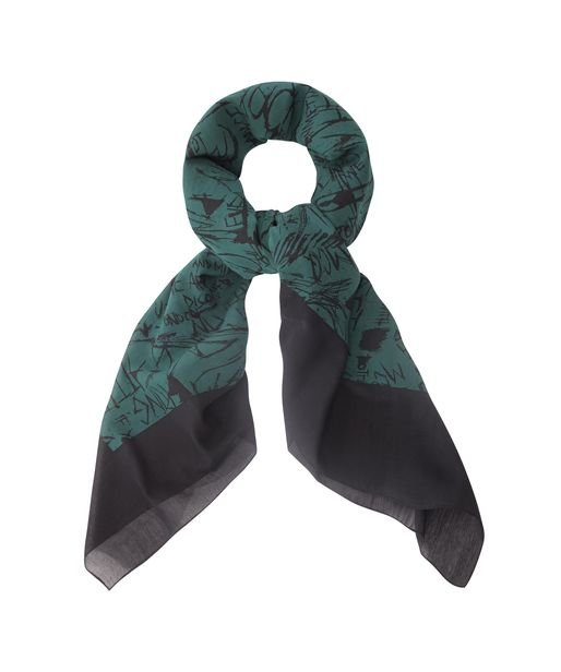Who'd ever think you could nab this McQ by Alexander McQueen Bottle Green Graffiti Print Scarf ($89, originally $225) at that price?