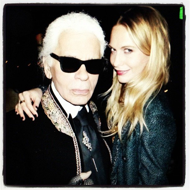 "Poppy Delevingne shared a photo of herself with ""the king,"" otherwise known as Karl Lagerfeld. Source: Instagram user poppydelevingne"