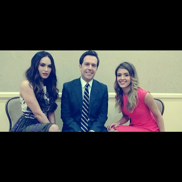 Jessica Alba made sure to get a shot of herself with Golden Globe nomination co-presenters Megan Fox and Ed Helms. Source: Instagram user jessicaalba