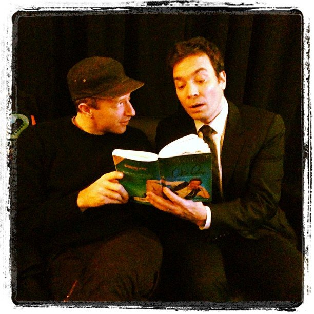 Coldplay's Chris Martin and Jimmy Fallon took turns reading to each other. Source: Instagram user jimmyfallon