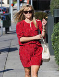 Reese Witherspoon looked stylish in a red dress.