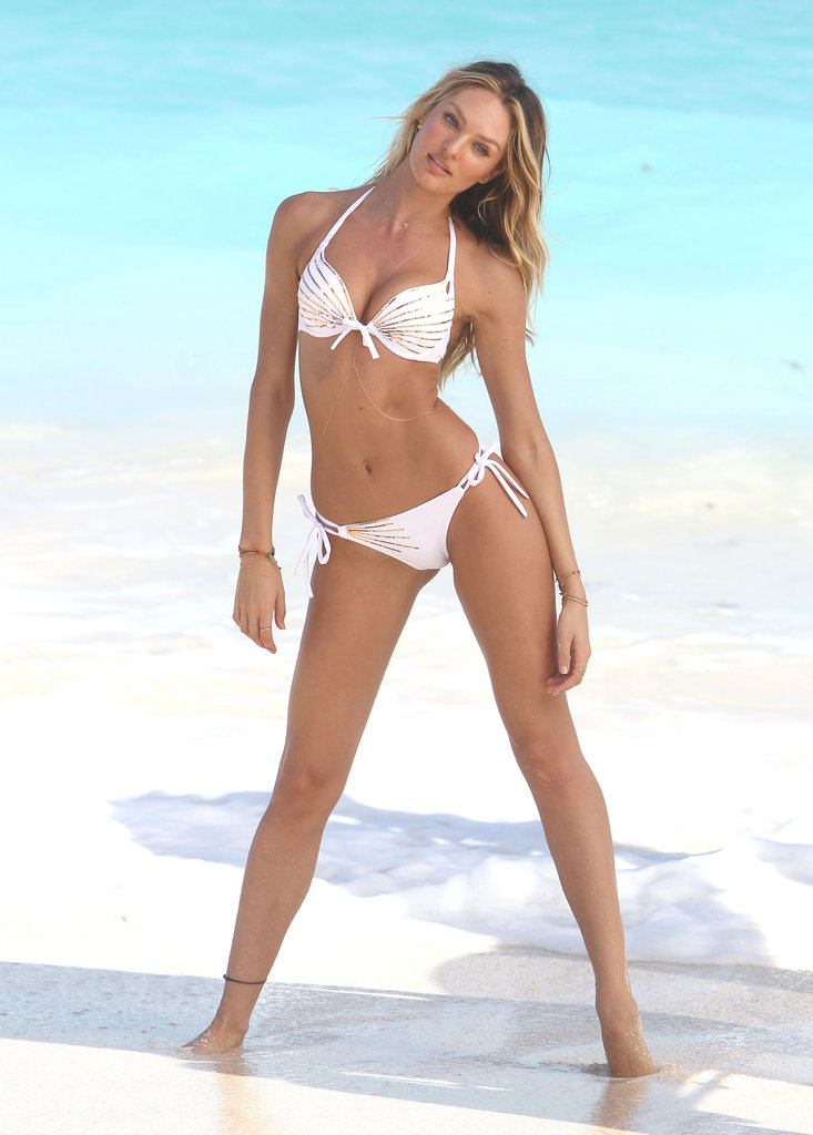 Candice Swanepoel posed in a white bikini.