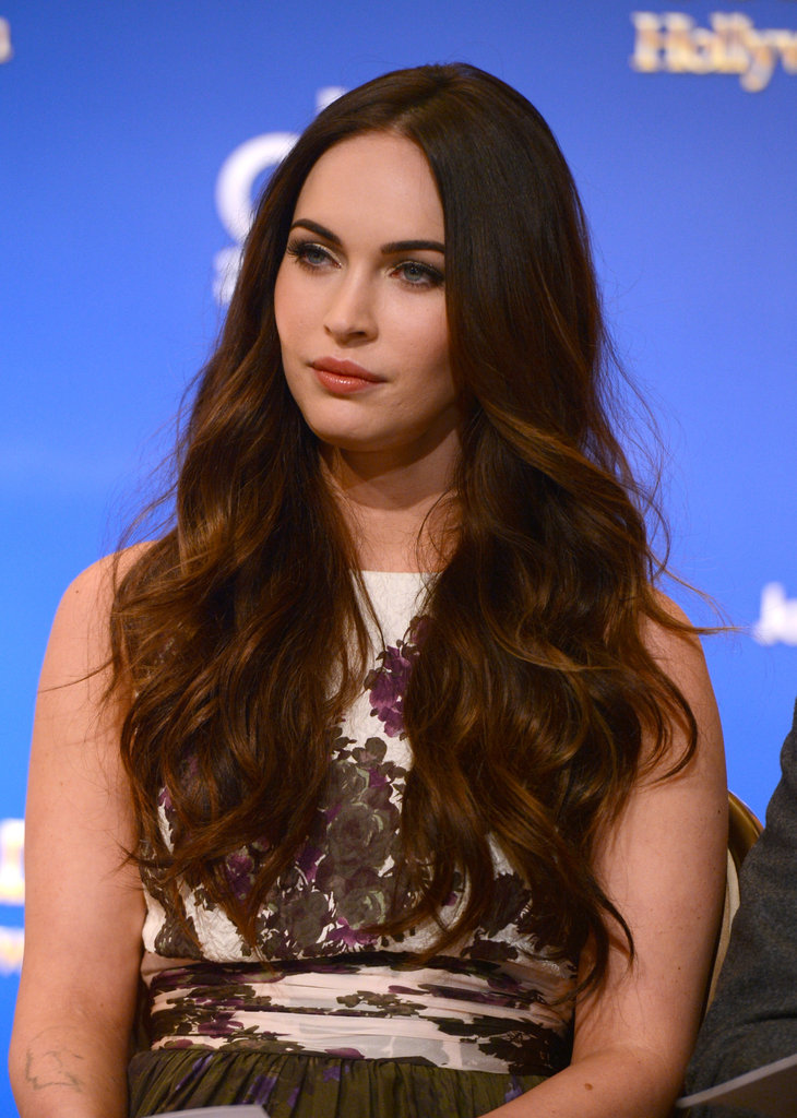 Megan Fox wore a printed dress at the Golden Globe Awards Nominations in LA.