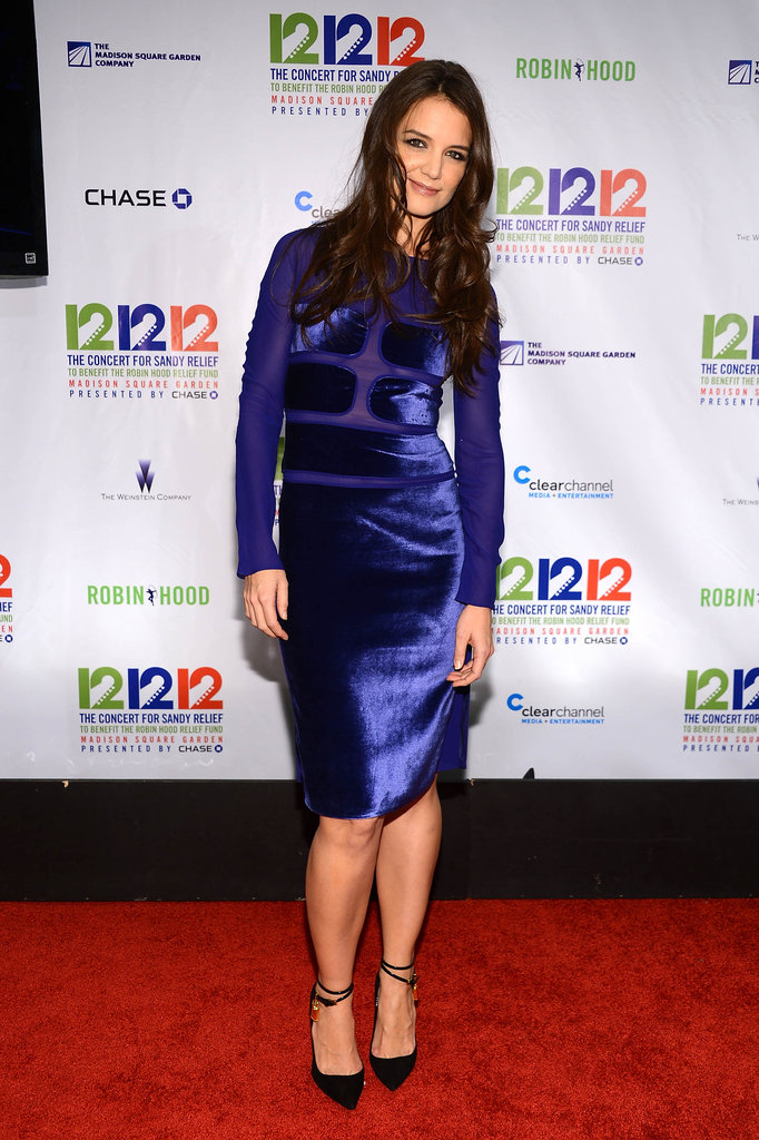 Kate Holmes walked the red carpet at the 12/12/12 concert benefiting Hurricane Sandy victims.