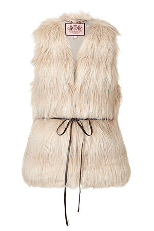 What better way to glam up your party look than with a very glamorous looking faux fur, like this Juicy Couture Natural Polar Vest with Belt ($189, originally $270).