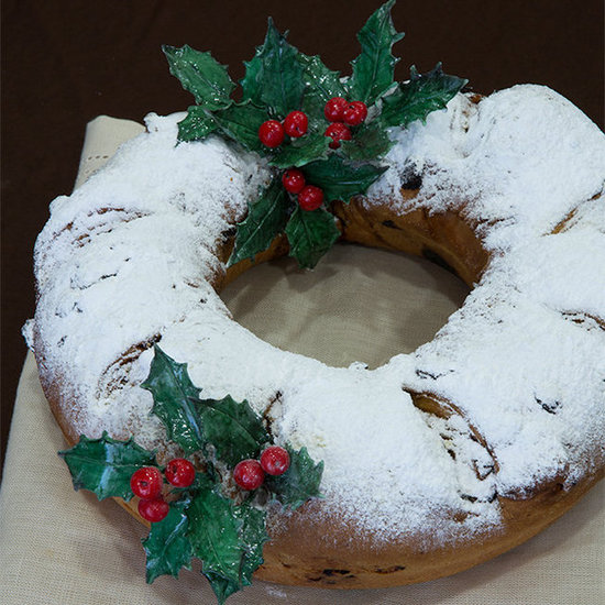 Stollen and edible gumpaste holly berries