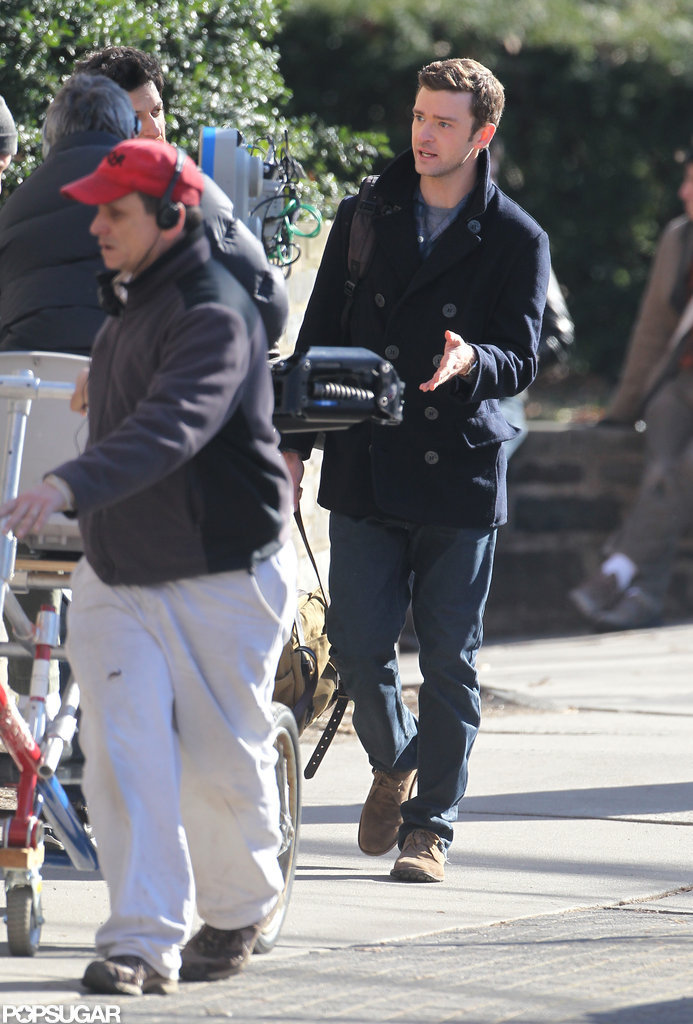 Justin Timberlake headed to set in Princeton.