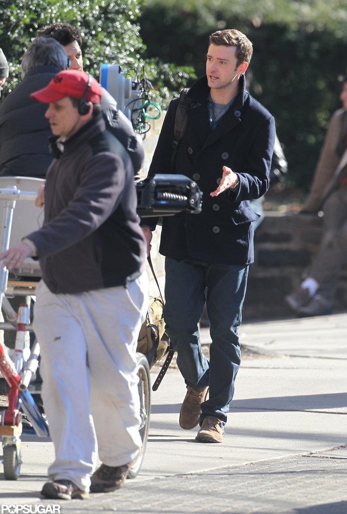 Justin Timberlake headed to set in Princeton.