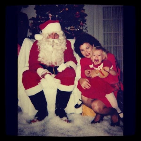 Hilary Duff showed her followers just how upset she was to meet Santa as a child. Source: Twitter user hilaryduff