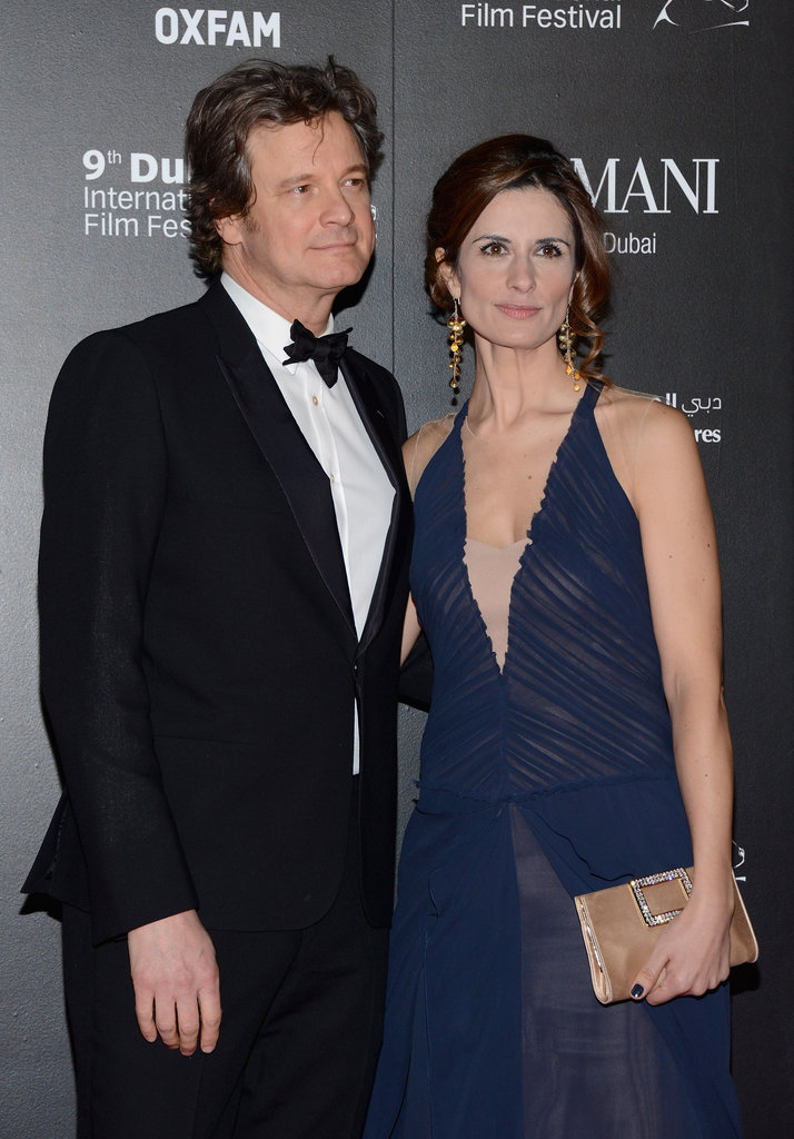 Colin Firth posed for photos with his wife.