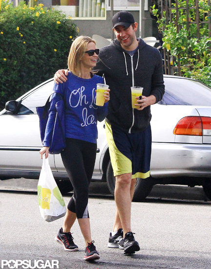 John Krasinski and Emily Blunt bought juice and food.