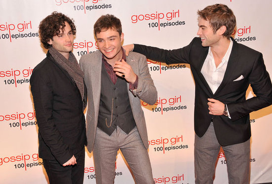 Penn Badgley, Ed Westwick, and Chace Crawford joked around while celebrating the show's 100th episode in November 2011 in NYC.