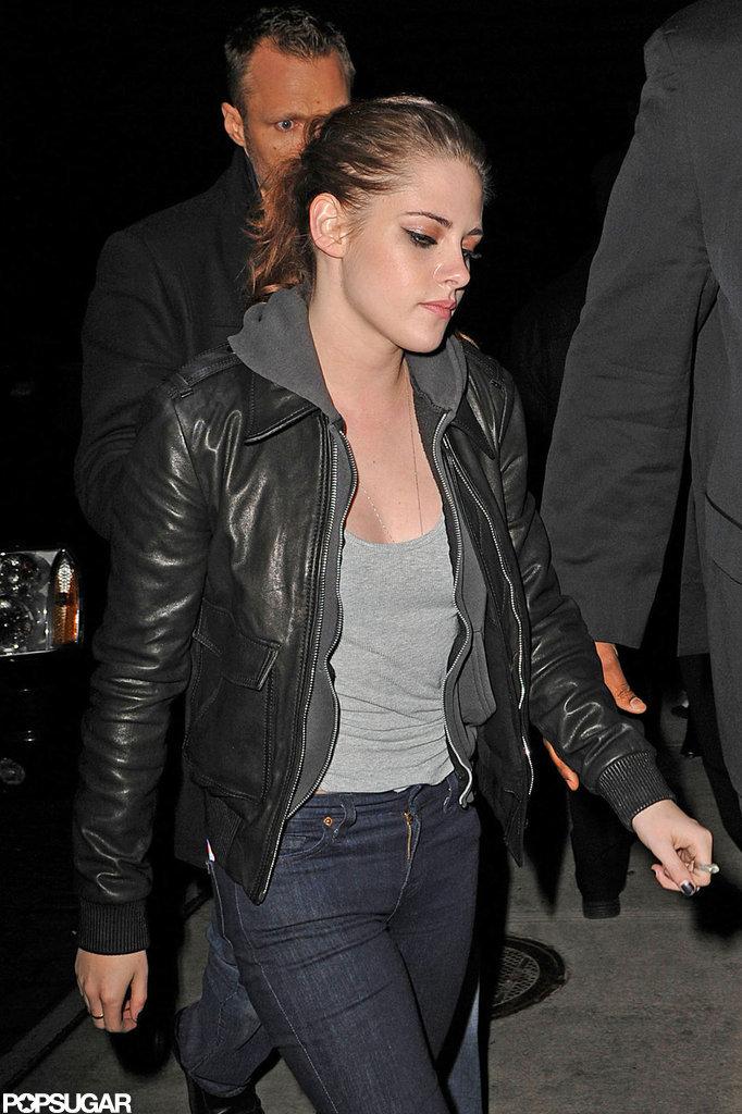 Kristen Stewart wore a leather jacket to dinner.