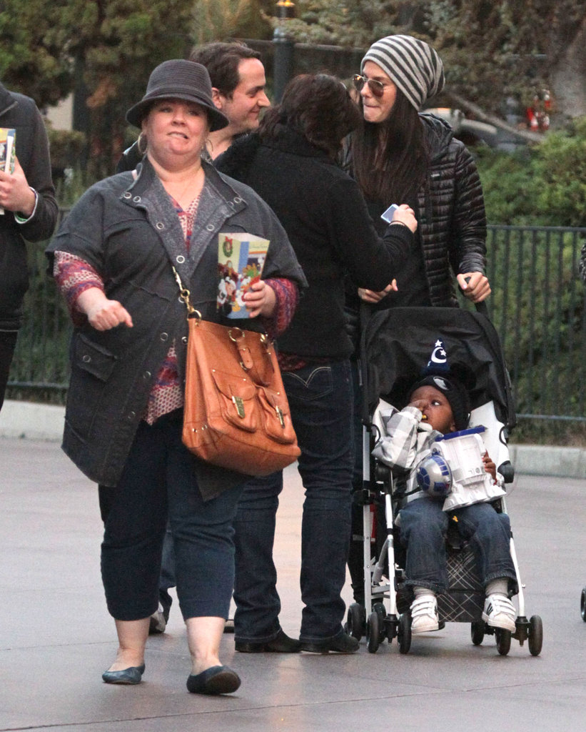Sandra Bullock pushed her son Louis Bullock in his stroller at Disneyland with Melissa McCarthy.