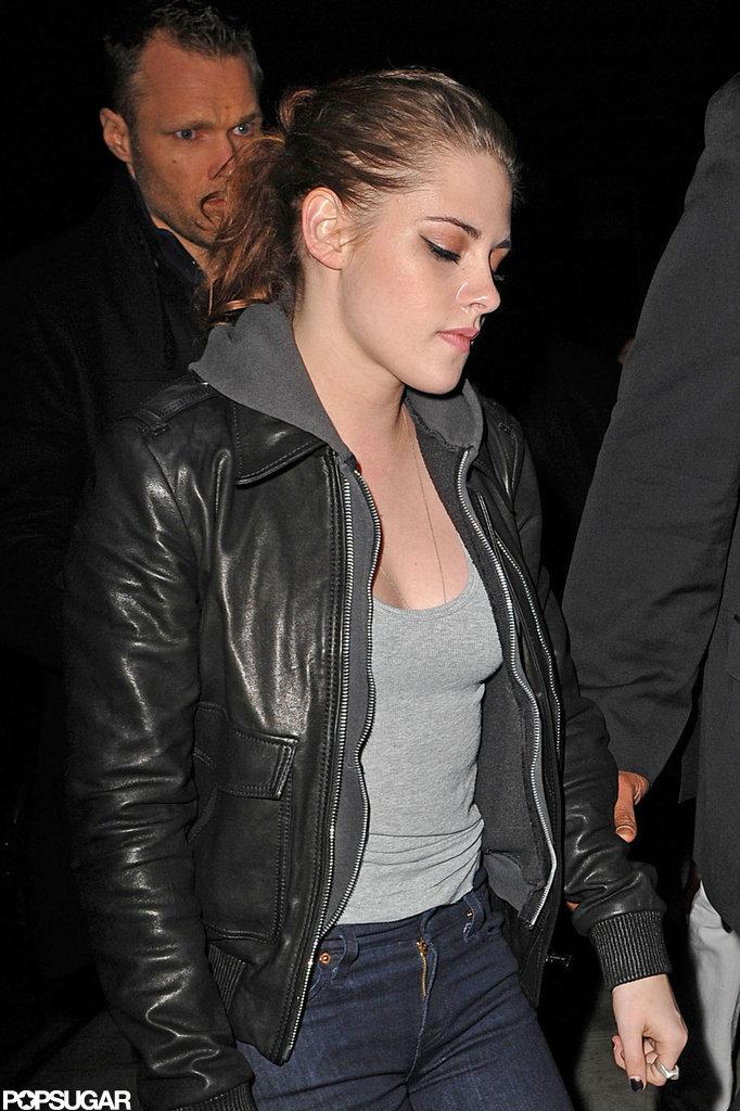 Kristen Stewart got dinner at Abe & Arthur's in NYC.