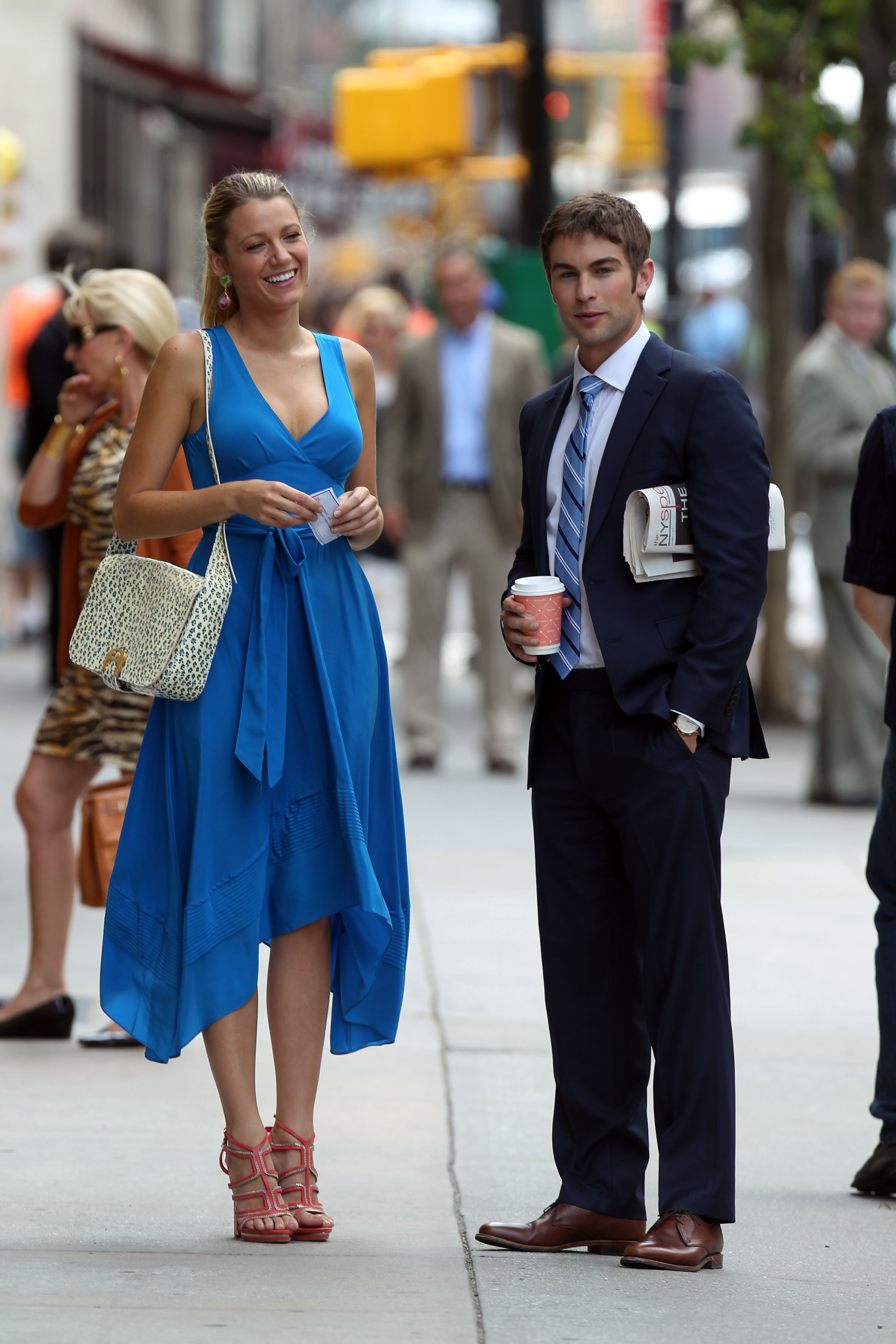 Blake Lively and Chace Crawford took their marks on set in July 2012.