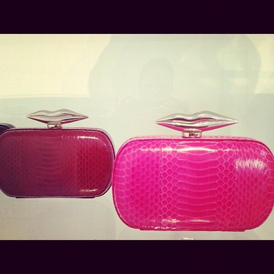 DVF's python-print clutches are topped with the brand's signature lips for Spring. How party-perfect are those?