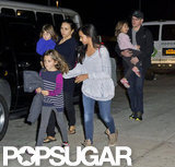 Matt Damon arrived at an airport with Luciana Damon, Isabella Damon, Alexia Barroso, Gia Damon, and Stella Damon.